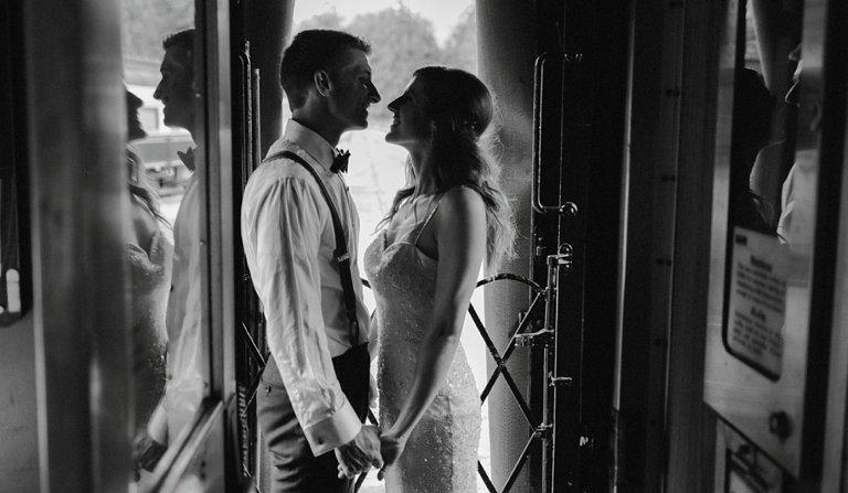 squamish train yard wedding portrait