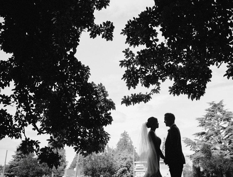 unique black and white wedding portrait