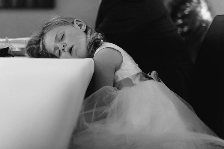 flowergirl sleeping during wedding