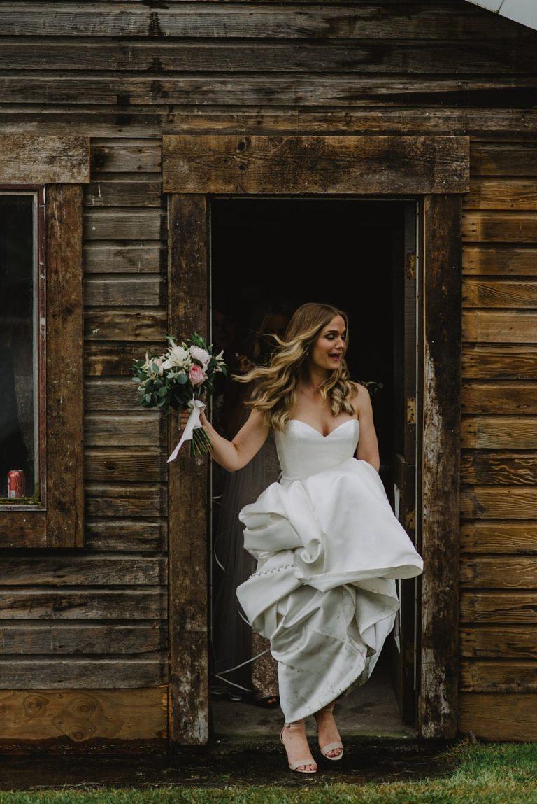 windy wedding portrait