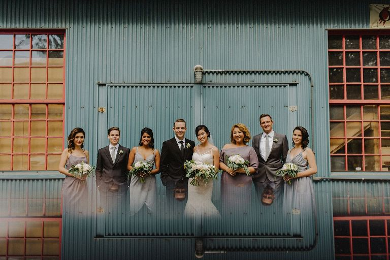 unique granville island wedding party portrait