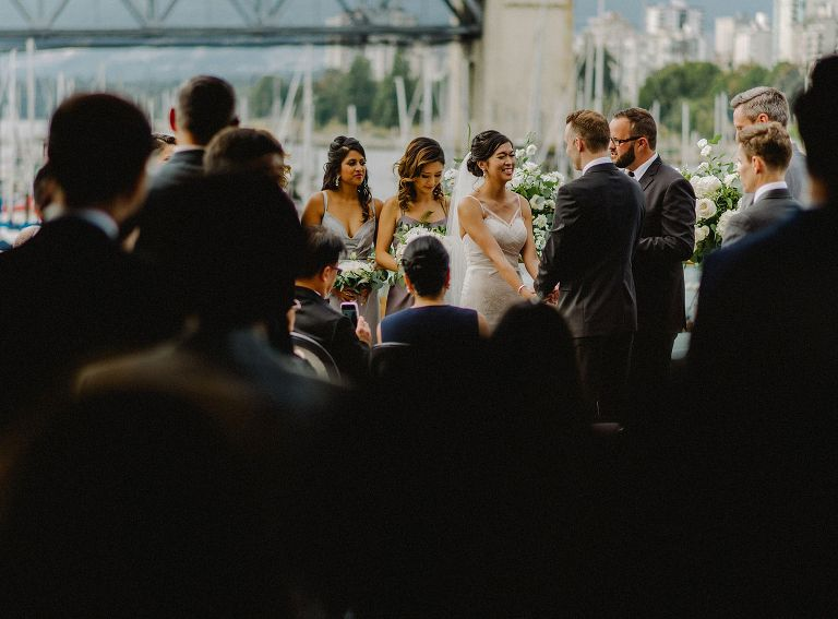 outdoor ceremony at bridges restaurant in vancouver
