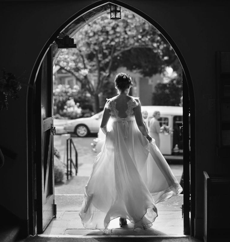 bride exiting church