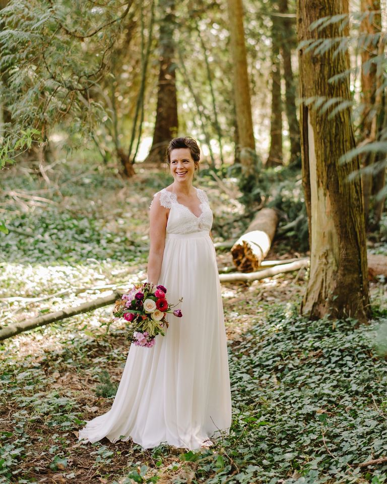 bride in a vancouver forest