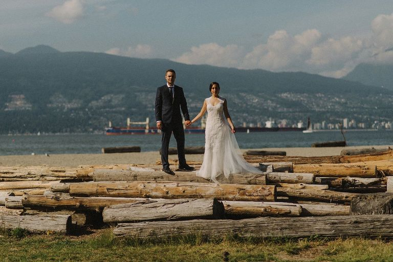 unique jericho beach wedding portrait
