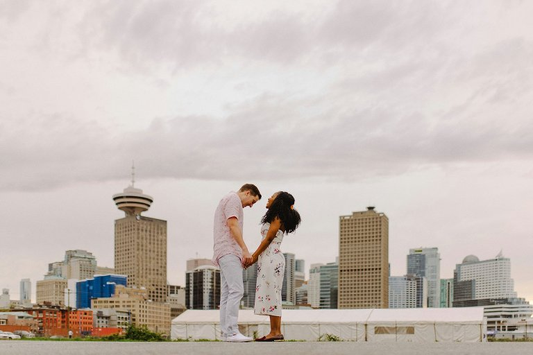 vancouver skyline engagement photo