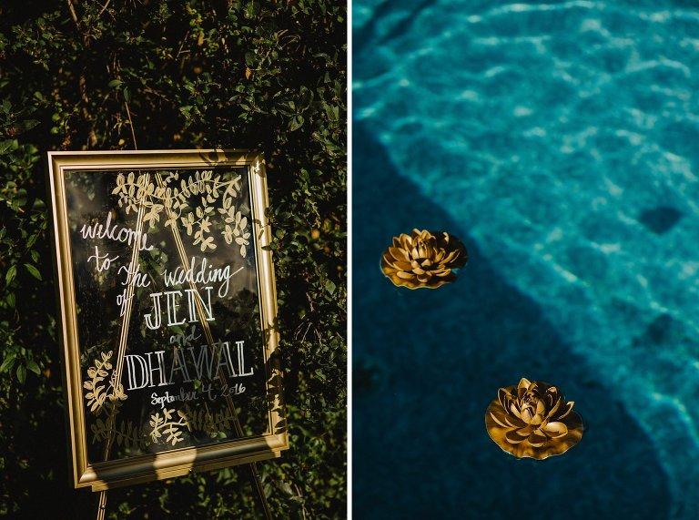 unique gold wedding floral details