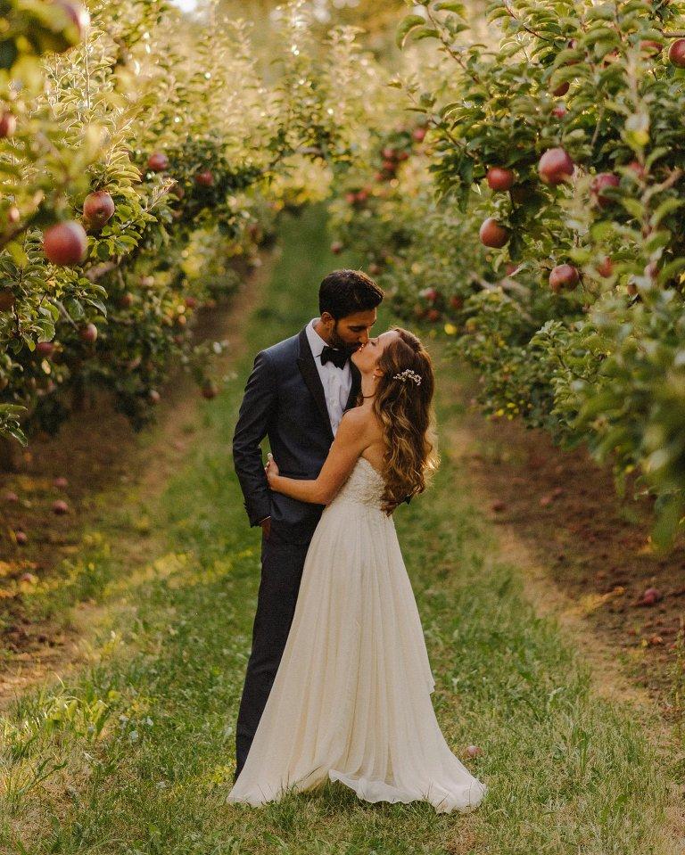 bride and groom portrait in kelowna orchard