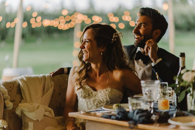 bride laughing during reception