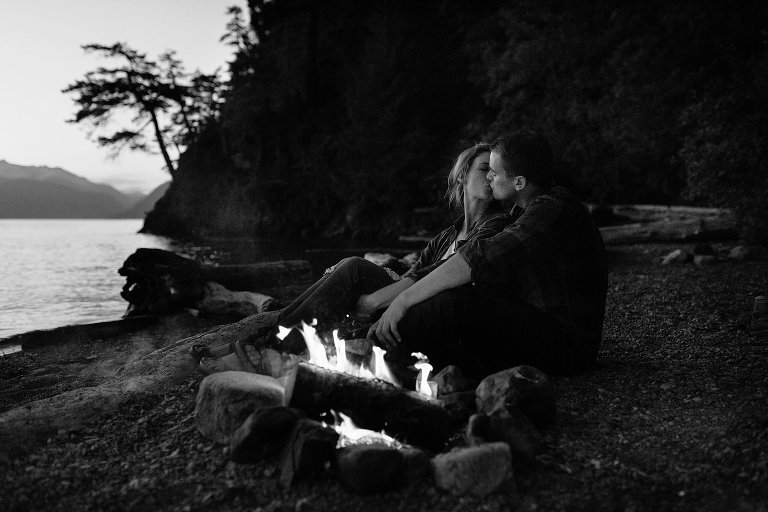 campfire engagement portraits