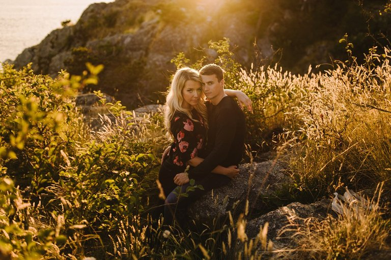 sunset engagement photos at whytecliff park