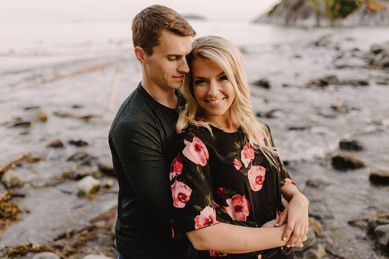 sunset engagement portraits at whytecliff park