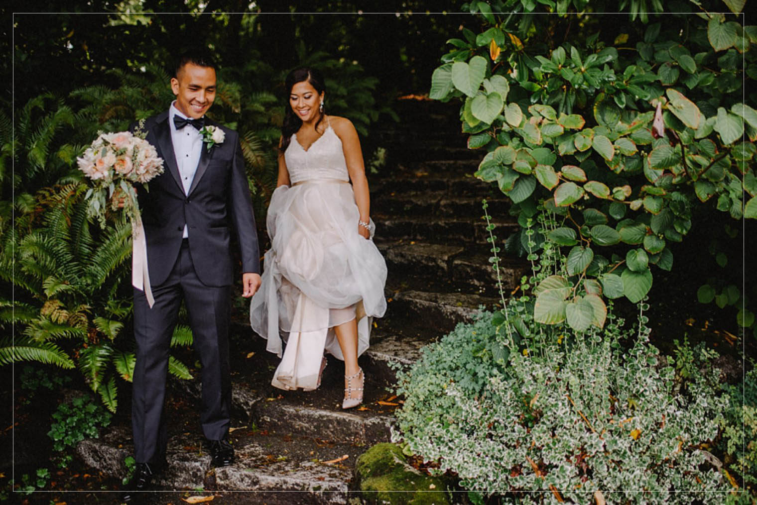 portrait of bride and groom at stanley park pavilion in vancouver
