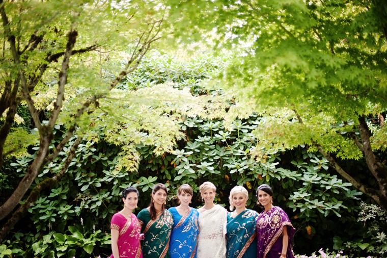 bridesmaids in saris at vancouver indian wedding