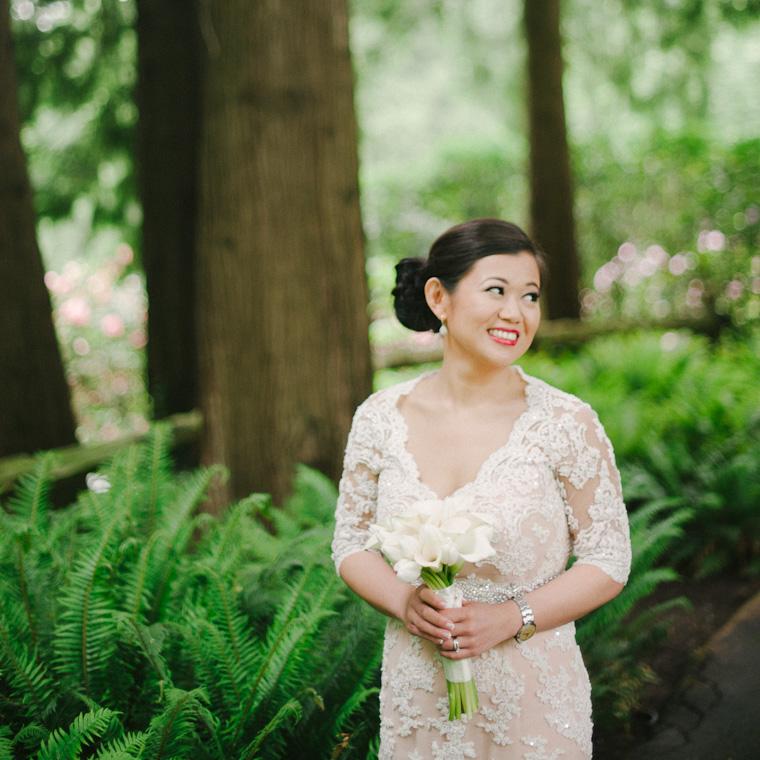 Beautiful bride in a garden near vancouver