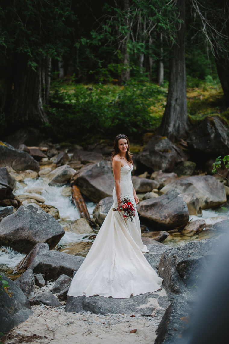 Bride Wedding Portrait by River in the Forest