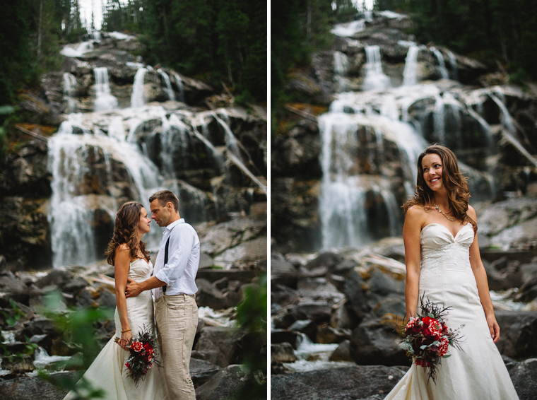Rustic Wedding Pictures by Waterfall