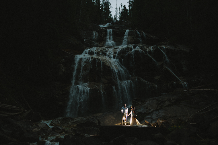 Wedding Portrait by Waterfall in Forest