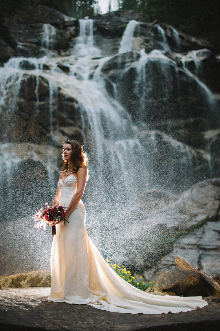 Bride Wedding Portrait in front of Waterfall