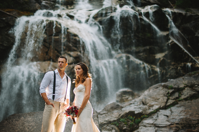 Waterfall Wedding Portrait Rustic