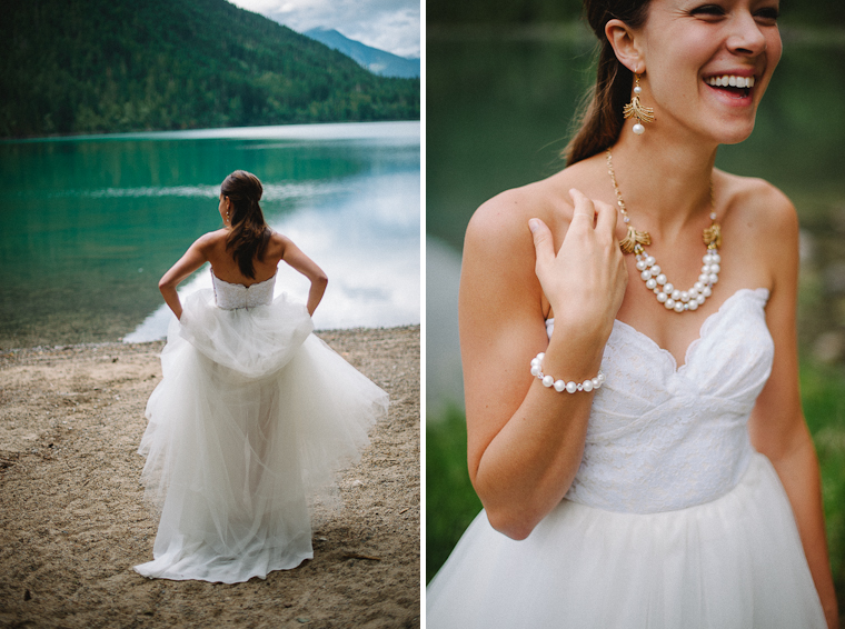 Unique Forest Lake Bridal Wedding Portrait