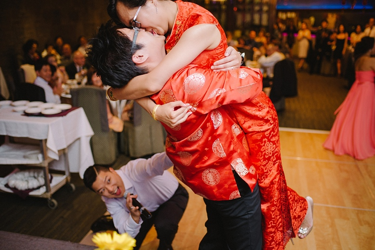 chinese bride and groom kissing