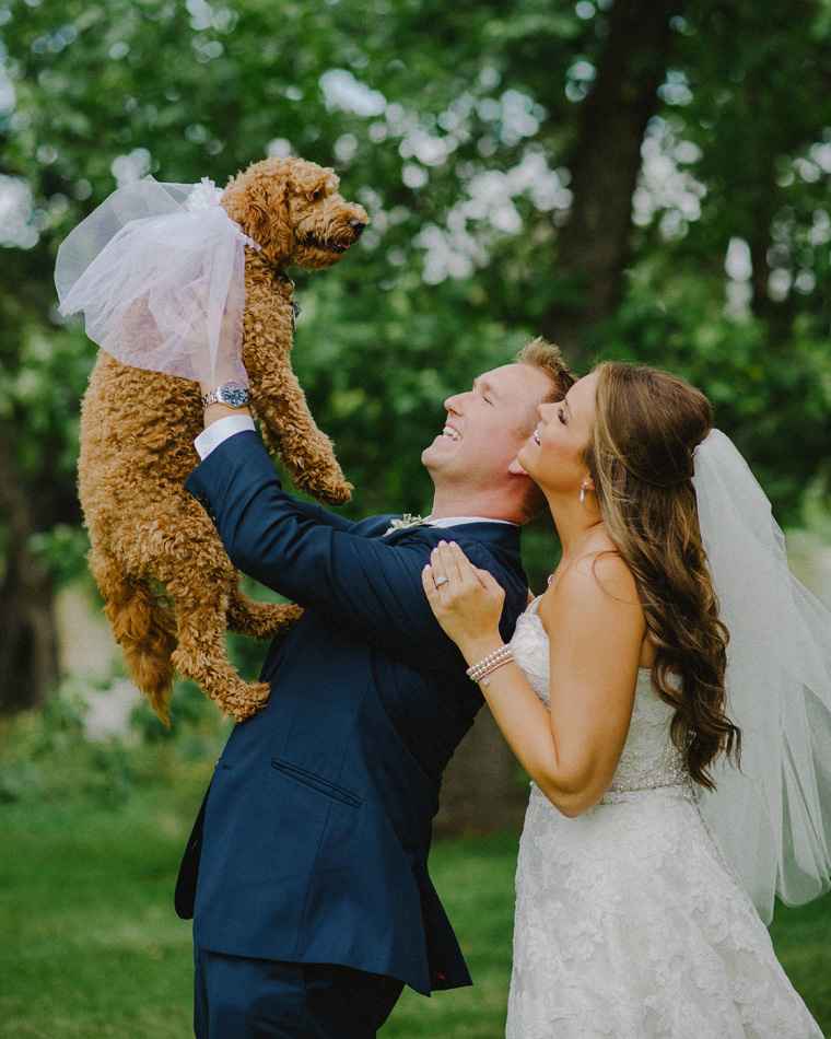 wedding portrait with labradoodle
