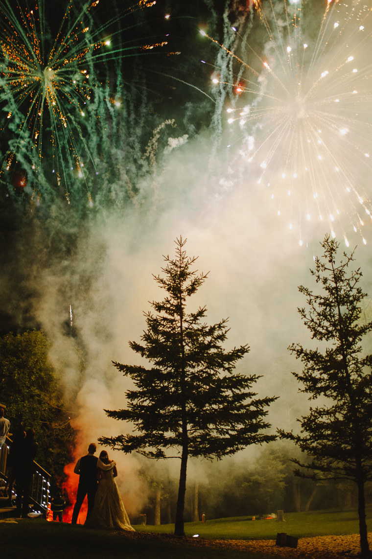 epic wedding portrait with fireworks