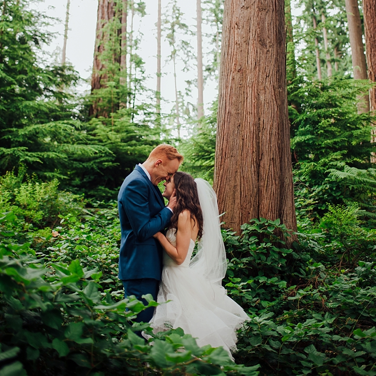 wedding portrait in the middle of the forest