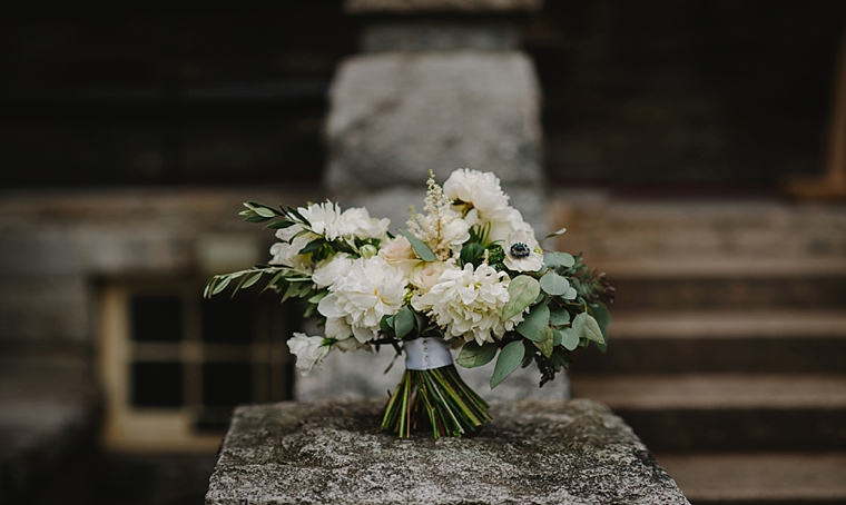 rustic white green and blue wedding bouquet