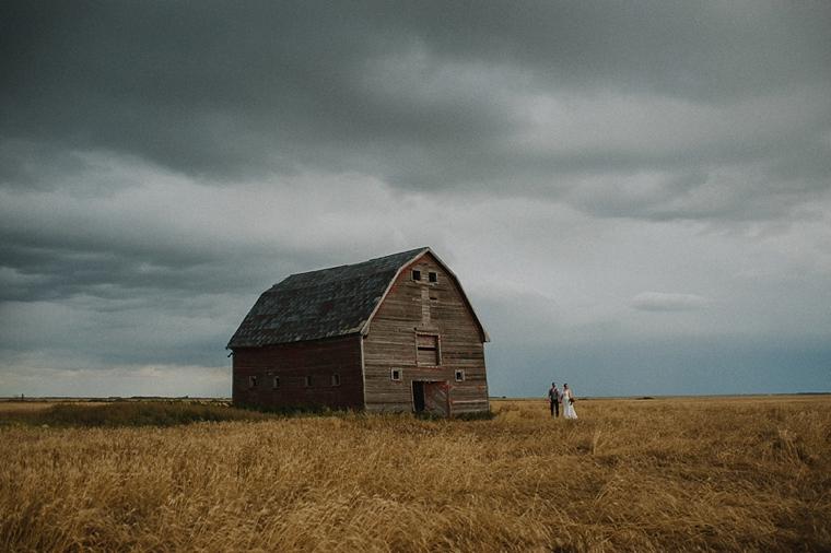 Wedding portrait with prairie barn