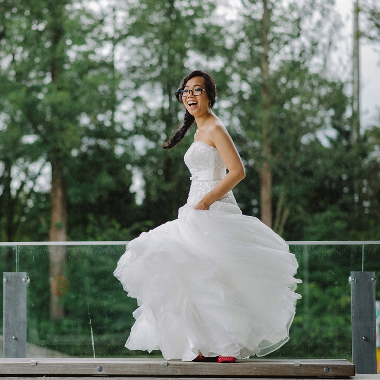 bride laughing while spinning