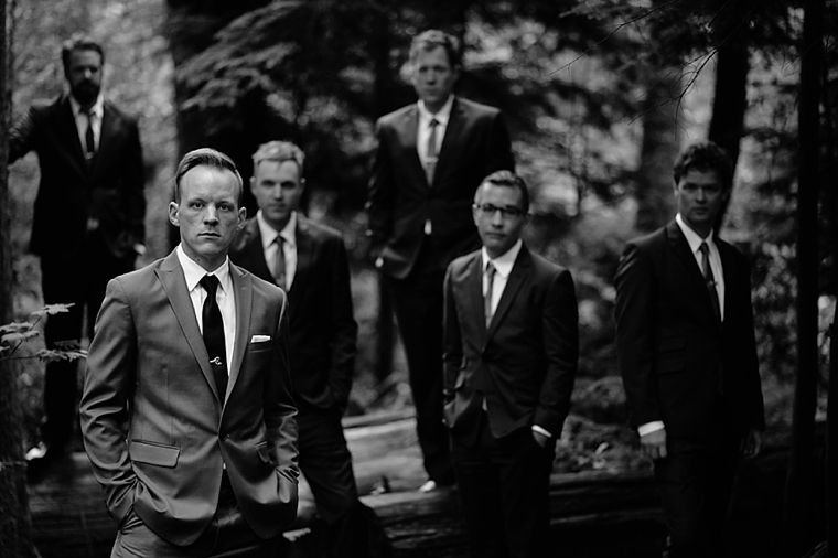 groomsmen in a vancouver forest