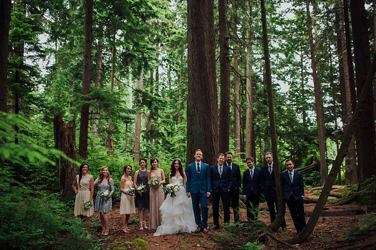 modern wedding party photo in a forest