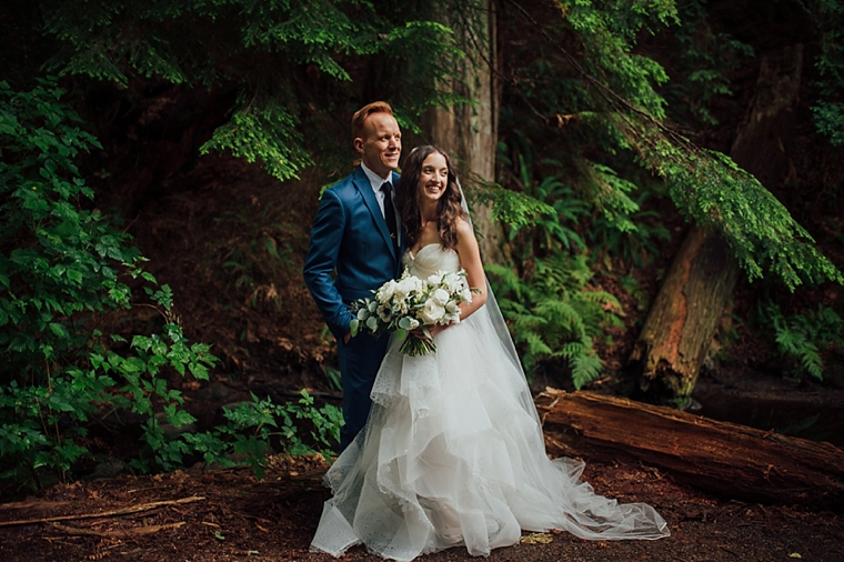 bride and groom portrait in a vancouver forest