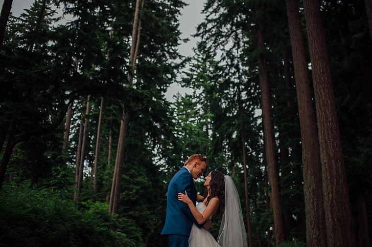 dramatic vancouver forest wedding portrait