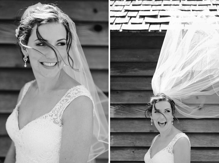 bride laughing as veil blows
