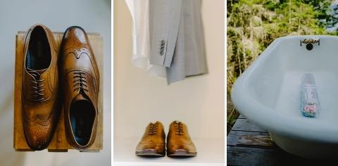 rustic brown and grey wedding attire