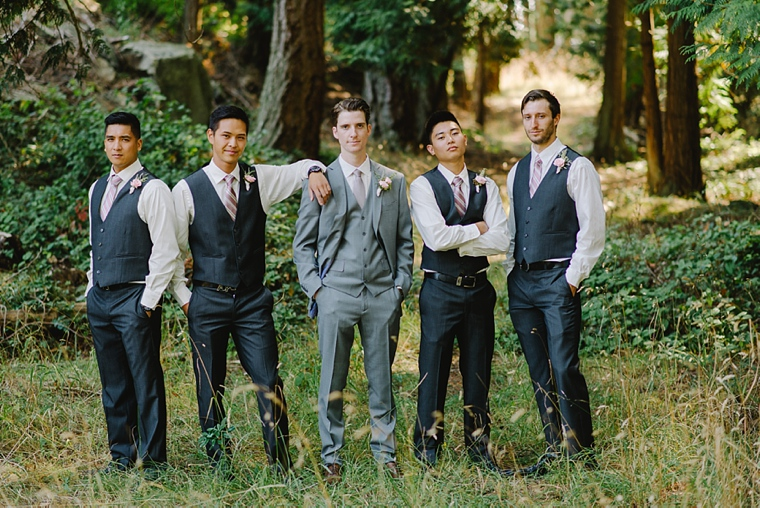 rustic groomsmen in the forest