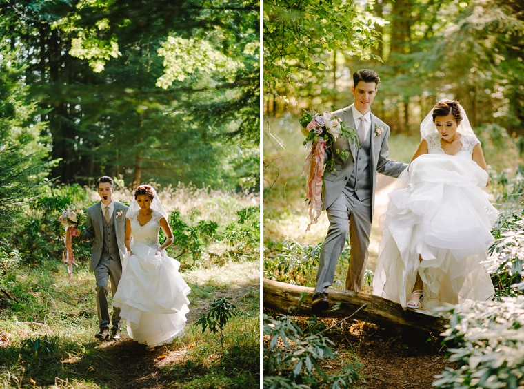 bride and groom stepping over a log