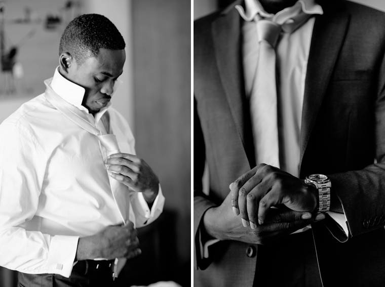 african groom getting ready