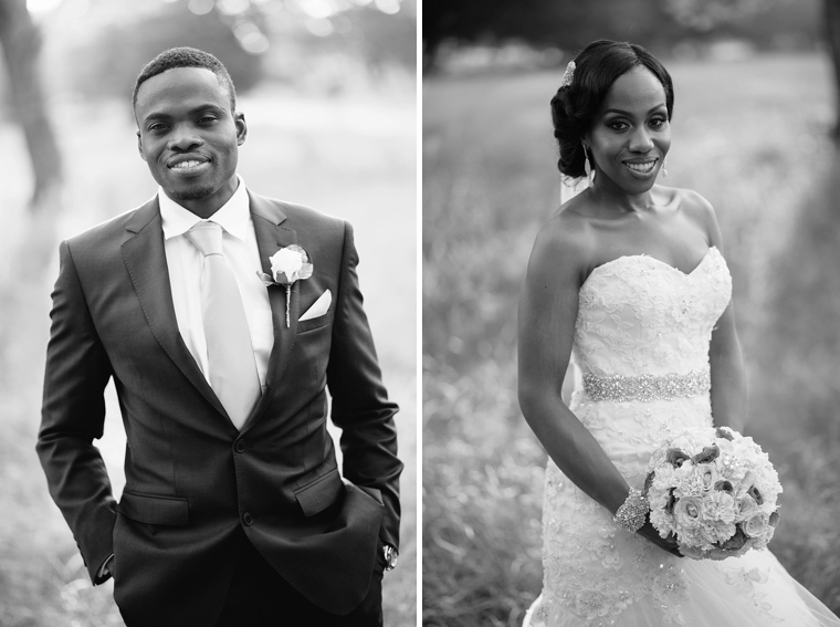 black and white african wedding portrait
