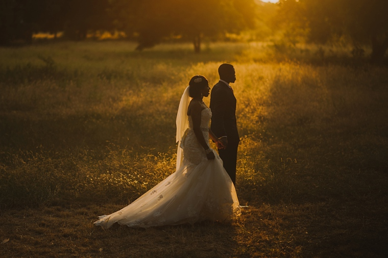 african sunset wedding portrait