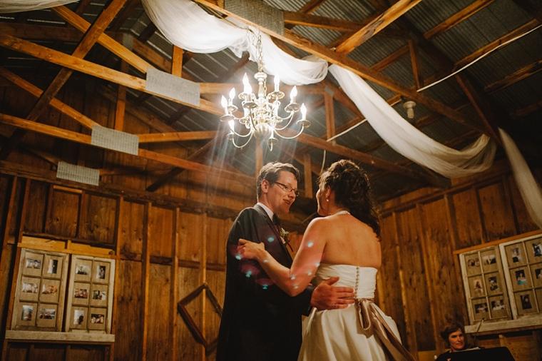 barn wedding with chandeliers