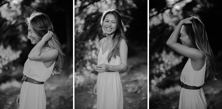 black and white of girl laughing