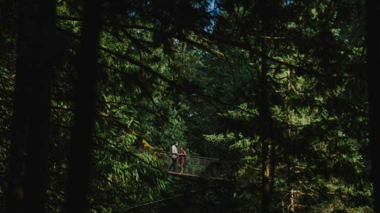 unique lynn canyon engagement portrait