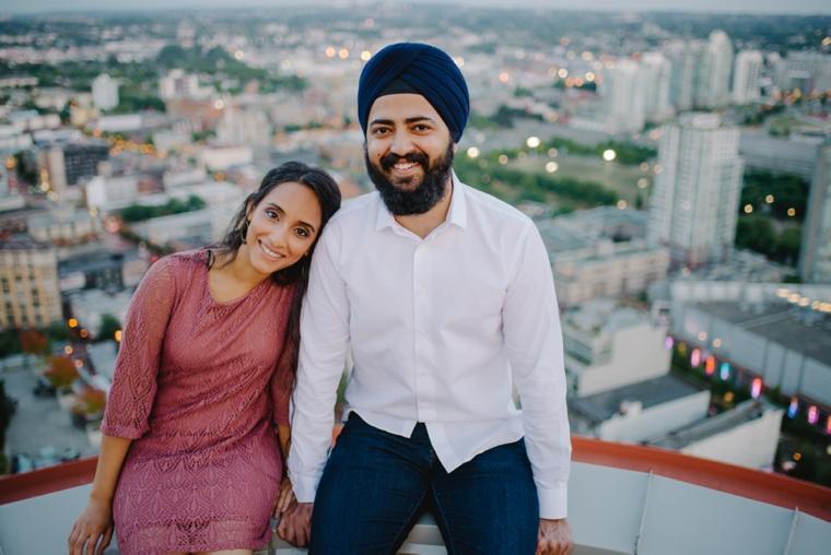 vancouver rooftop engagement portrait