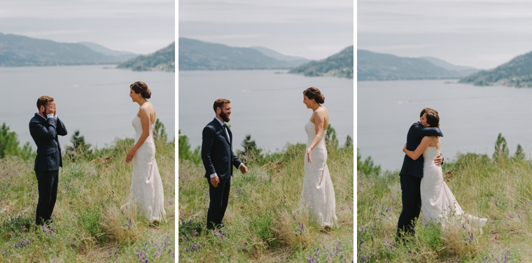 first look overlooking a lake