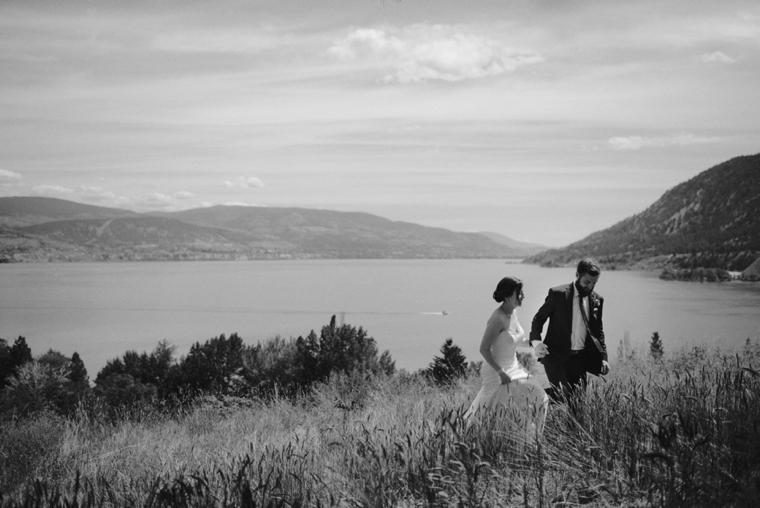 wedding portrait overlooking okanagan lake