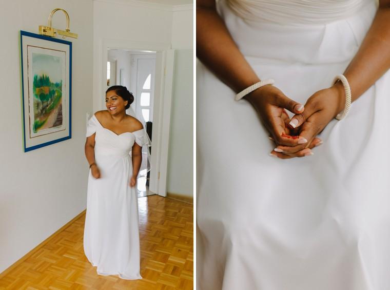 german bride in wedding dress detail